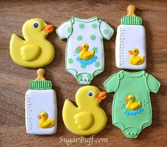 Yellow & Green Baby Shower Cookies