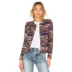 IRO Namanta Jacket ($675) ❤ liked on Polyvore featuring outerwear, jackets, coats & jackets, workwear jacket, iro jacket, fringe jacket, tweed fringe jacket and shoulder pad jacket
