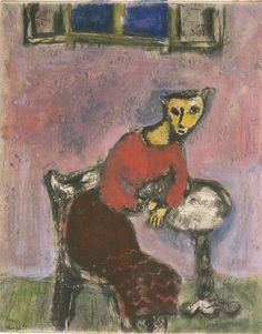 Marc Chagall (Rusia/Francia,1887‑1985). The Cat Transformed into a Woman. Etching, drypoint and oil paint on paper. Tate
