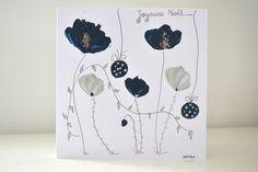 carte de Noël faite main, carte joyeux noël originale bleu/argent, carte d'art fleurs noël : Cartes par antonella-creation