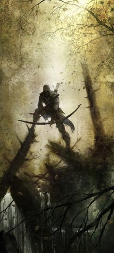 via TheGamersHub - A brilliant piece of Assassin's Creed III concept art. Connor Kenway is lurking in the tree tops, waiting for his moment. You have to be pretty patient to be an assassin, after all! 3d Fantasy, Fantasy Warrior, Fantasy World, Fantasy Setting, Fantasy Artwork, Final Fantasy, Assassin's Creed 3, Deviant Art, Character Illustration