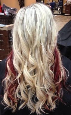 Blonde with red peek-a-boos
