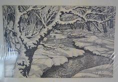 Pen & Ink Drawing Trees Snow Stream Dots Pointillism J Pierce 1962