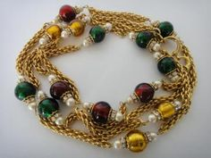 Vtg Chanel 1982 Haute Couture Gripoix Ruby Emerald Glass Necklace