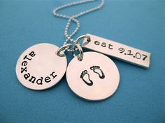 Necklace to note a new baby's arrival! Gifts For Expecting Parents, Baby Arrival, Moriarty, Baby Bumps, Baby Things, Baby Love, Ava, Dog Tag Necklace, Kid Stuff