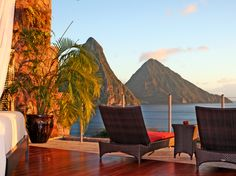 The missing fourth wall at Jade Mountain in St. Lucia leaves you feeling suspended in air, looking out at the Pitons from the infinity pool of your tree house.