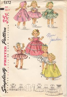 """Vintage Simplicity Doll Dress Pattern #1372 for 8"""" Doll"""