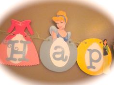 Happy 1st Birthday banner Disney princess party cinderella snow white milan rapunzel ariel etc... via Etsy
