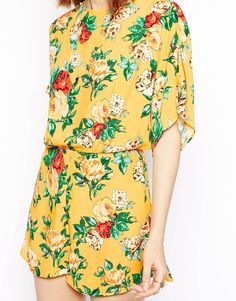 Enlarge ASOS Kimono Playsuit In Vintage Floral Print