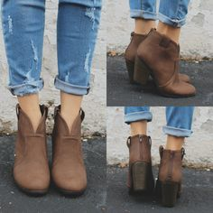 Western Style Stacked Wooden Heel Ankle Booties Paola