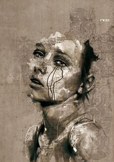 Apparently it's Florian Nicolle's !Guy Denning (English self taught contemporary artist/painter based in France. He is the founder of The Neomodern Group and part of the urban art scene in Bristol. Arte Gcse, Distortion Art, Art Couple, A Level Art Sketchbook, L'art Du Portrait, Portrait Ideas, Illustration Art Nouveau, Art Alevel, Expressive Art