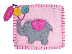 A kids felt purse with an elephant and balloons. Felt Purse, Coin Purse, Teddy Bear Delivery, Free Cards, Love Bear, Handmade Felt, Felt Toys, Two By Two, Balloons