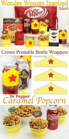 How to create the best Wonder Woman inspired party! Including Wonder Woman inspired Crown free Printable bottle wrappers and a simple Dr Pepper Caramel Popcorn recipe to make your next Movie party night perfect! WonderfulMovieNight WonderWoman AD