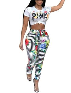 6958f60650 Adogirl Women s Floral Print 2 Pieces Outfits Letter Print T-Shirt Crop Top  Long Skinny Pants
