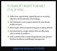 Female medical conditions? Femilift could be the answer - http://medi-skinclinics.co.uk/femilift/ #femilift #health