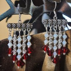 Red White Swarovski Crystal Earrings by RozsSunriseInspired on Etsy