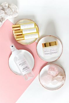Styled Product Photo Modern Minimalist Feminine Body Positive Bopo Women Skincare. Body Oil Skincare Flatlay with Florals and Gold. Luxe Skincare. Crystals, Minerals, Minimalistic Feminine Body Positive Skincare. Fashion Beauty Travel Blogger Pink Champagne Rosé French Flatlay. Bespoke Styled Product Photography + Photographer in California and Australia by Chelsea Loren.