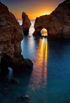 Sunset in Carvoeiro Beach Algarve Portugal