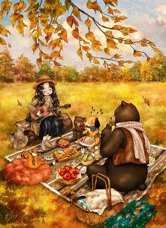하나둘 떨어지는 낙엽들. 울긋불긋 물든 산자락의 굽이굽이. 정성스레 준비한 다과와 함께 가을날의 소풍을 즐겨봅니다. Leaves that fall one after another. The bending path of brightly stained mountain. Enjoy this autumn picnic with the lovingly prepared snacks.