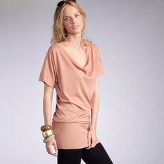 Short-Sleeved Cowl Neck Tunic Sweater