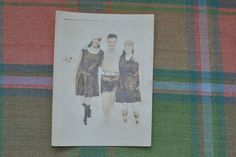 Antique Beach Photograph 1900's Young Man with 2 Young Ladies in Bathing Suits