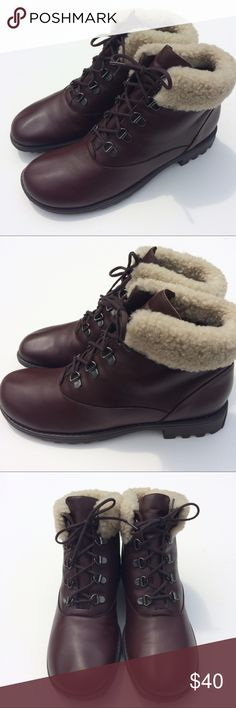 Munro Brown Boots With Fleece Top Size 7.5 New with tags, Munro brown boots.  I am unsure of the materials but the fleece is real as seen in the attached photo of the leather underside.  Size 7.5 Munro Shoes Lace Up Boots