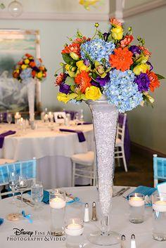 Colorful floral centerpieces can brighten any wedding reception venue