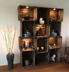 Shelf made of crates