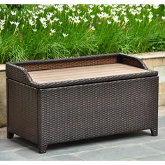 International Caravan 4221 CH Barcelona Resin Wicker Aluminum Storage Bench  With Edge Lip In Chocolate