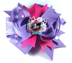 Boutique Minnie mouse inspired Hair Bow Clip by prettybowtique on Etsy