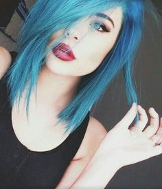 Blue hair red lips