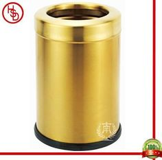 HOUSED-豪仕达,酒店用品/hotel articles#GPX-205D room dustbin#桶盖:0.7mm201#砂金;桶身:0.5mm201#砂金;桶底:橡胶圈;圆形单层桶/cover &  body: 201# stainless steel with titanium gold plated(matt finished); bottom: rubbber ring;round shape, 1-layer# size:20.5*30CM