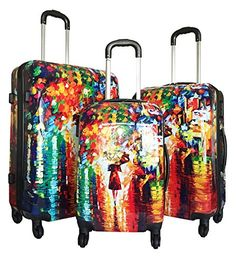 3pc Luggage Set Hardside Rolling 4wheel Spinner Carryon Travel Case Poly Rain *** Check out this great product.