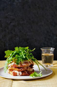Corn Cake Stacks with Aged Cheddar and Arugula - GoodHousekeeping.com