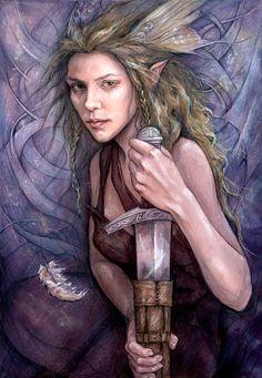 Justice, Tarot of the Hidden Realm Magical Creatures, Fantasy Creatures, Fantasy Warrior, Fantasy Art, Elf Warrior, Justice Tarot, Glasgow School Of Art, Holly Black, Fairy Art