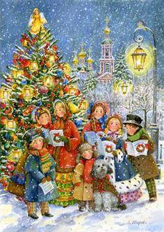 Christmas Scenes, Christmas Past, Christmas Carol, Christmas Holidays, Vintage Christmas Cards, Xmas Cards, Old Fashioned Christmas, Christmas Paintings, Christmas Illustration