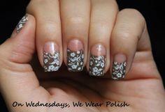 On Wednesdays, We Wear Polish : Floral Half Moon Design