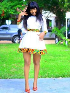 Cute short white dress and heels African Fashion Ankara, Latest African Fashion Dresses, African Print Fashion, African Fashion Designers, Africa Fashion, African Prints, African Style, Traditional African Clothing, Modern African Clothing