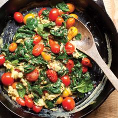 Blistered Tomato and Spinach Scramble - If you're short on time in the morning (and who isn't?), this scramble serves four, so you can make it ahead of time and enjoy it throughout the week. Use 4 eggs. Try switching up the seasonings (cayenne and parsley for I-Burn, chipotle and cilantro for D-Burn, etc.)