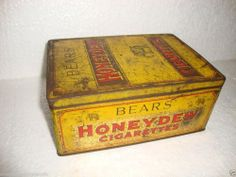Bears Honeydew Cigarette Advertising Litho Print Vintage Tin Box
