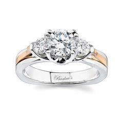 Barkev's 3 Stone Two Tone Engagement Ring 6713LT