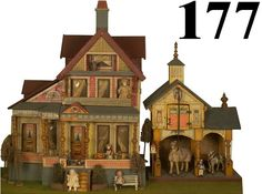 177: Bliss Seaside Villa & Stable : Lot 177, beautiful combination.  .....Rick Maccione-Dollhouse Builder www.dollhousemansions.com