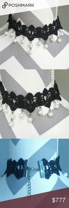 """Sexy lace and pearls choker Brand new  boutique item  Sassy little lace and pearl choker necklace. Pair with any outfit for a edgy yet feminine look. Lovely lace with faux pearl beads. Dainty necklace Hooked and extension chain Length 12.5"""", 2"""" chain extention allows length up to 14.5""""   *holiday mothers day gift anniversary date night party special occasions getaway vacation present vegas . . Jewelry Necklaces"""