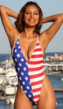 Made in the USA One Piece Swimsuit At Sunnyside Swimwear all of our swimsuits and bikini's are Made in the USA. Patriotic Bikini, Flag Bikini, Bikini Girls, Bikini Babes, One Piece Swimwear, One Piece Swimsuit, Swimsuit Cover, 4th Of July Swimsuits, Striped One Piece