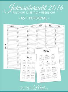 Kalender - Jahresübersicht 2016 + 2017 - + Personal - Filofax / Kikki-k Kikki K Planner, Work Planner, Business Planner, Journal Printables, Printable Planner, Free Printables, Filofax Personal, Websters Pages, Making Ideas