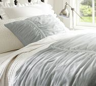 Buying this for our new home!! :) Hadley Ruched Duvet Cover & Sham - Gray Mist or Blue $39 - $179