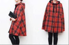 red tartan cape coat with peter pan collar <3