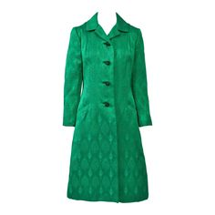 1960s Kelly Green Brocade Coat | From a collection of rare vintage coats and outerwear at https://www.1stdibs.com/fashion/clothing/coats-outerwear/