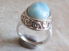 Larimar Sterling Ring Domed Mottled Blue Silver by cutterstone, $79.00