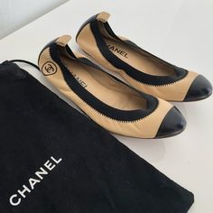 098bba85667b Chanel Flats New never worn Chanel tweed flats. Comes with box and dust  bag. Black tweed with some shimmer. Smoke free home. CHANEL S…